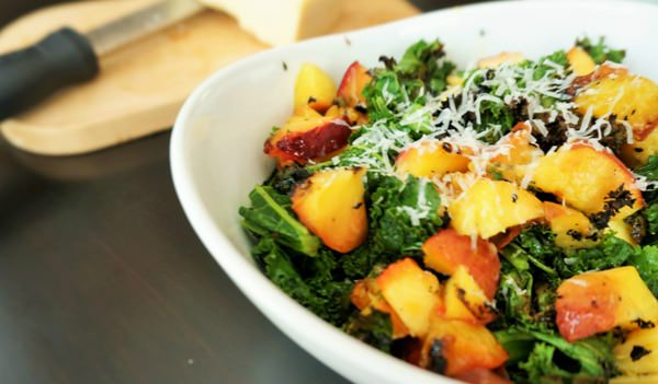 close-up-of-peach-and-kale-salad
