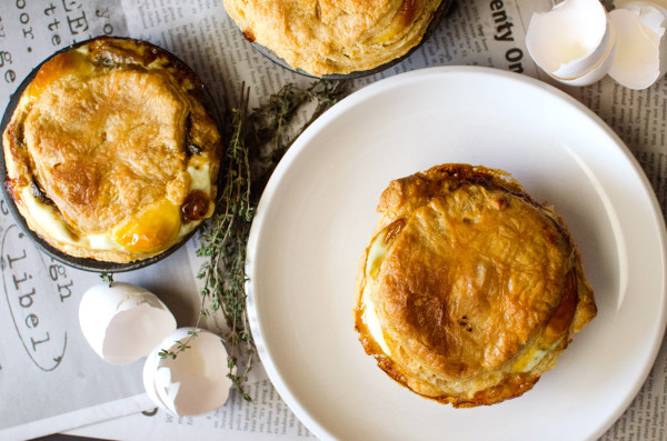 Mushroom, Bacon & Egg Pies - The perfect Breakfast Pie! These can be made ahead of time and frozen and baked when you need them! Delicious and so filling, it's the perfect Breakfast/Brunch (or even lunch or dinner) meal! Can be made with pre made puff pastry, or make your own rough puff pastry.