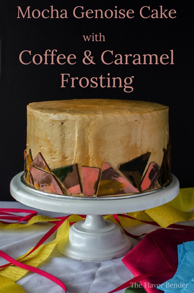 Mocha Genoise Cake with Coffee Caramel Frosting - The perfect Celebration Cake. Light Chocolate genoise cake, soaked with coffee and covered with Coffee and burnt Caramel Buttercream Frosting!