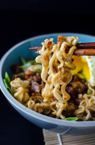 Spicy Pork Ramen Noodles - Make your Ramen noodles gourmet with crispy, spicy Pork and a delicious Pork gravy and a Furikake seasoned soft boiled egg on top!