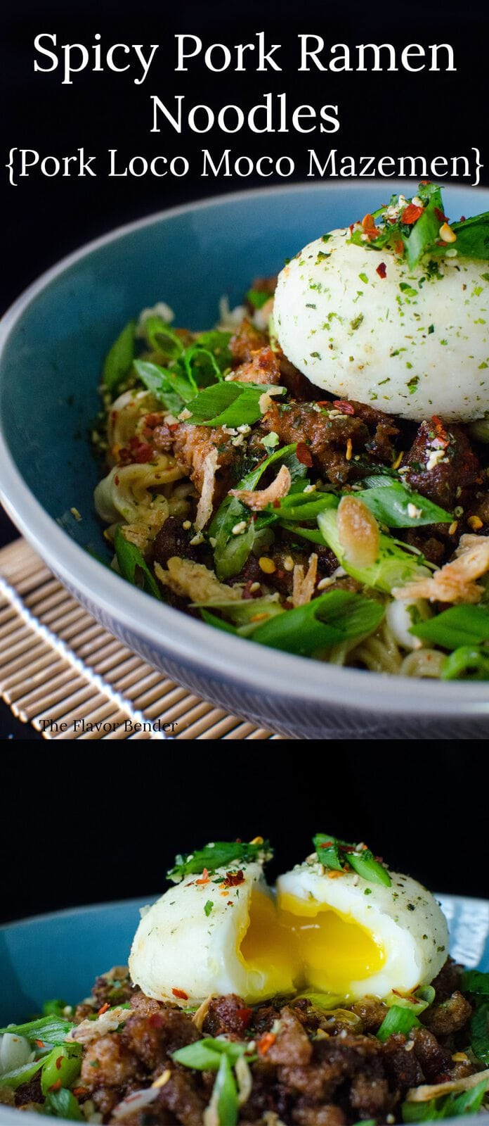 Spicy Pork Ramen Noodles - Make your Ramen noodles gourmet with crispy, spicy Pork and a delicious Pork gravy and a Furikake seasoned soft boiled egg on top! Plus a review of The Food Truck Road Trip Cookbook!