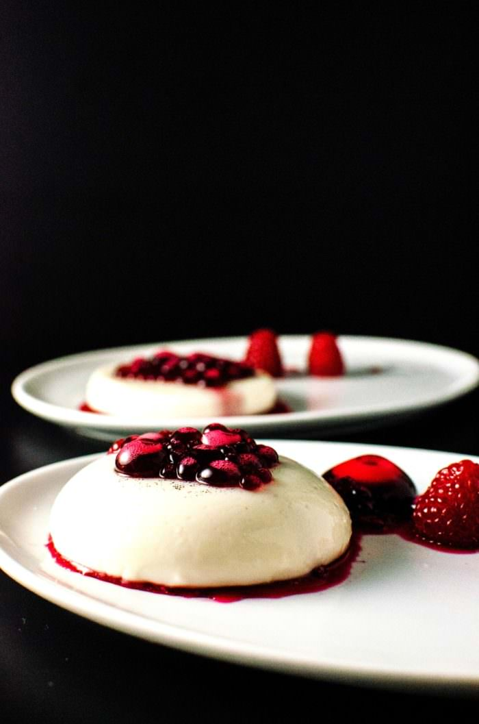 "White Chocolate Panna Cotta with Hibiscus Syrup Pearls. Hibiscus pearls made using Reverse Spherification, but can be served without spherification as well. Sweet, creamy perfectly ""jiggly"" panna cotta with delicious sweet, citrusy hibiscus with hints of raspberry!"