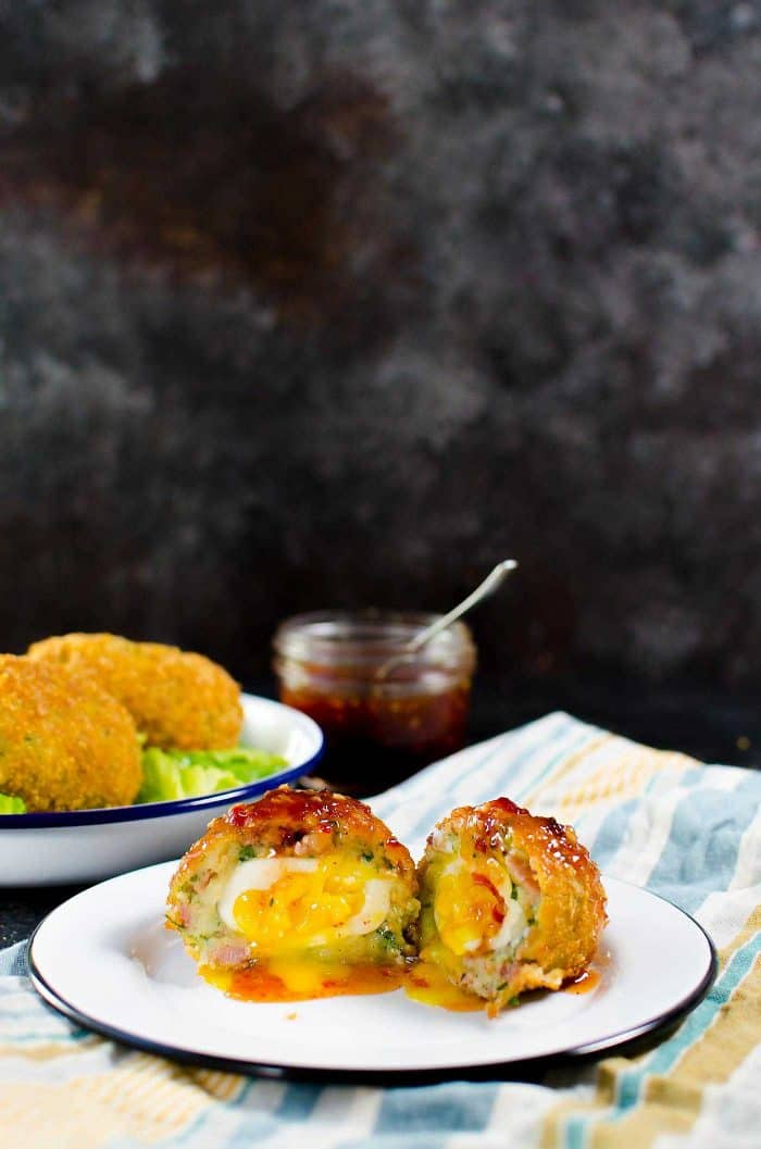 Cheesy Potato & Bacon Scotch Eggs. Extra special Breakfast Scotch eggs with Cheese, Potato, Bacon! Perfect Brunch or Breakfast Eggs.