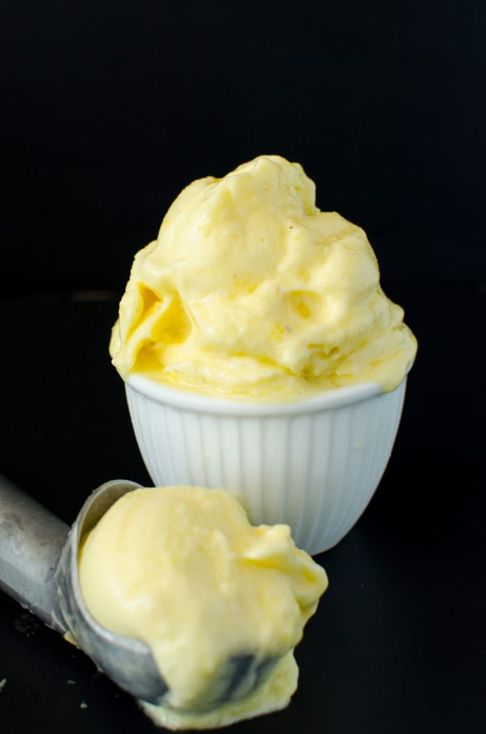Pineapple sorbet in a bowl