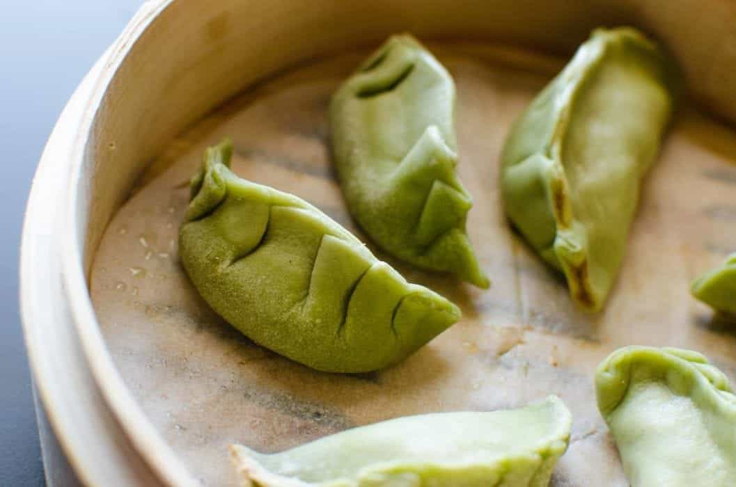 Green Pot sticker dough/ Dumpling dough made with Spinach puree! Perfect for pan-fried pot stickers or steamed dumplings!