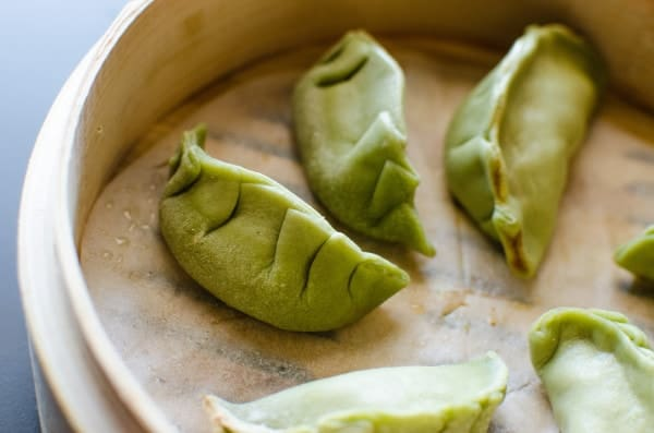 Green Potsticker dough/ Dumpling dough made with Spinach puree! Perfect for pan-fried pot stickers or steamed dumplings!