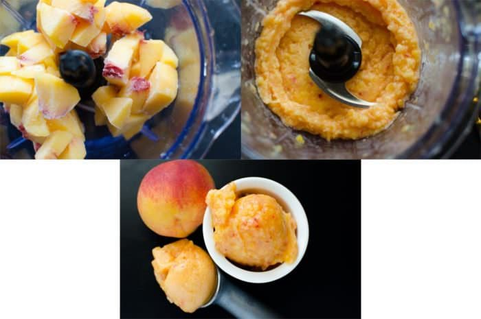 Step by step photos on how to make easy Peach Sorbet. Frozen peaches in a blender, being blended and served as sorbet.
