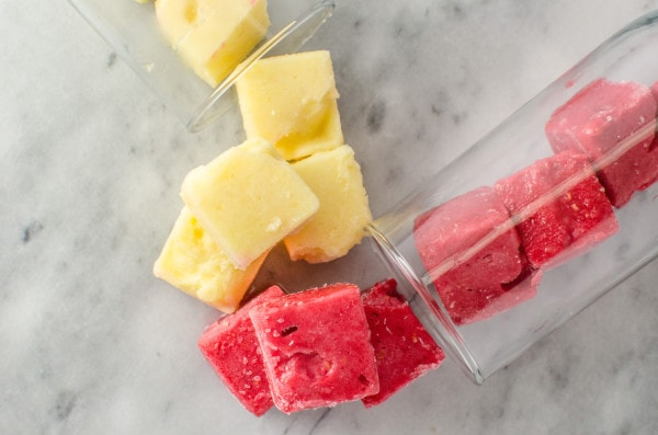 Rainbow Ice Cubes - Make your drinks like your favourite lemonade, fun with these Rainbow Ice Cubes all made with natural colours and flavours to add more fruityness to your rainbow lemonade!