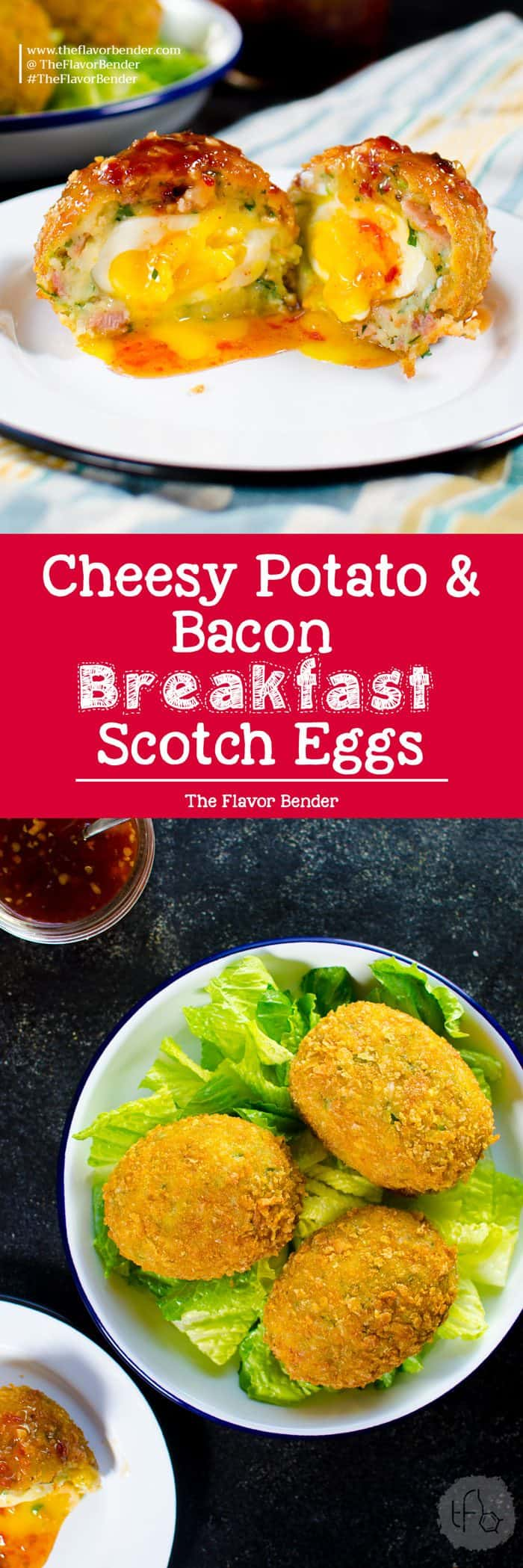 Cheesy Potato & Bacon Scotch Eggs. Extra special Breakfast Scotch eggs with Cheese, Potato, Bacon! Perfect Brunch or Breakfast Eggs.