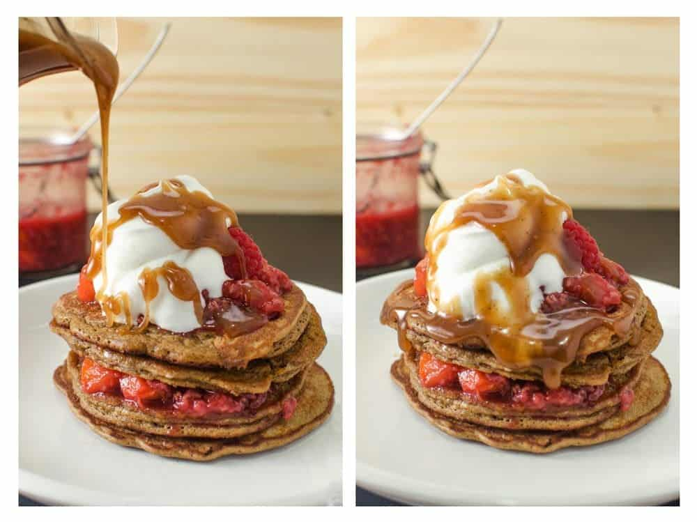 Coffee Pancakes with Peach & Raspberry compote & topped with Brown butter butterscotch sauce! Fluffy, light, delicious, pancakes with amazing depth of flavor.