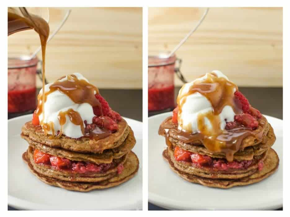 Coffee Pancakes with Raspberry & Peach compote