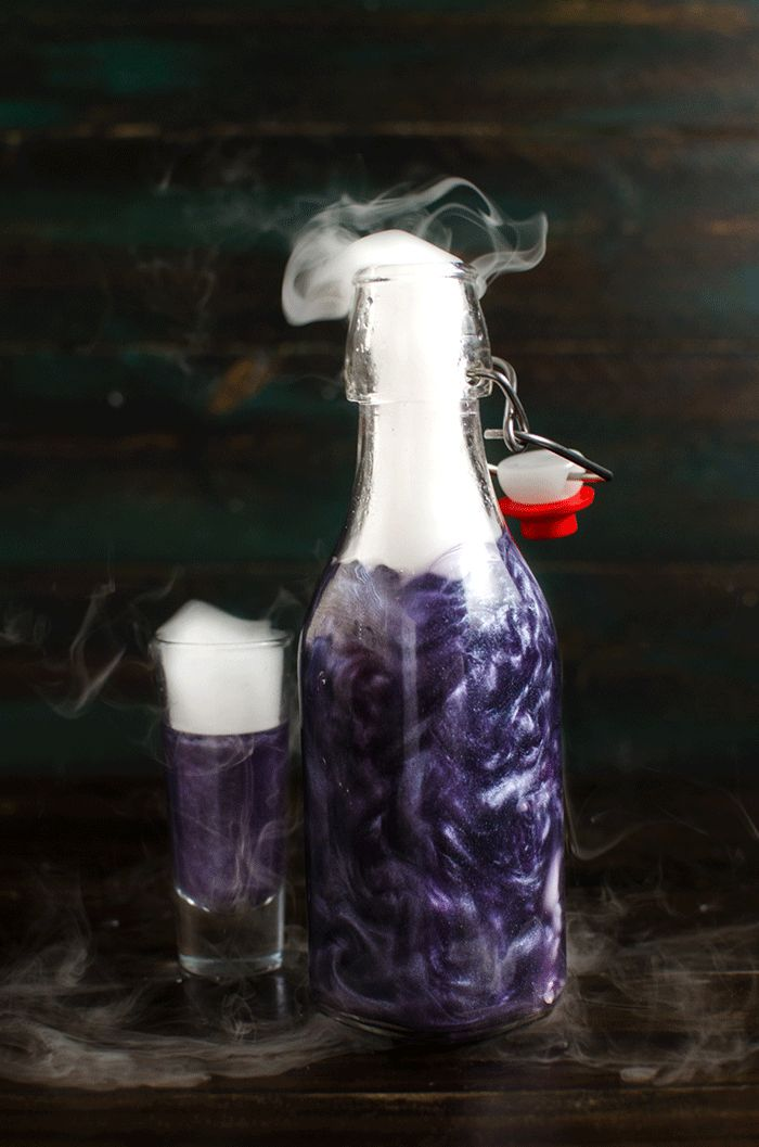 Homemade Flavored Shimmery Liqueur (Blackberry Liqueur)- I'm sharing with you how to make your own FLAVORED shimmery liqueur at home in all the colors of the rainbow, using homemade vodka infusions. Perfect for Halloween, special occasions or themed parties!