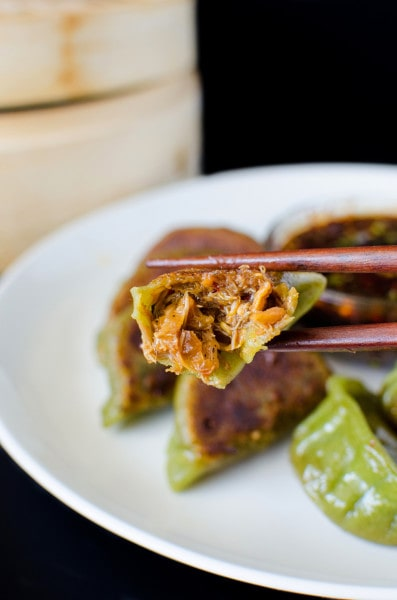 Chilli Crab Potstickers made with Spinach Dumpling wrappers - delicious crab filling with flavours and spices inspired by Singapore Chilli crab!