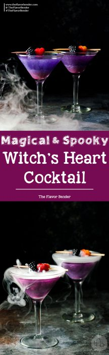 The Witch's Heart Cocktail – A dreamy, whimsical and magical Halloween Cocktail made with Blackberry Shimmery liqueur! Are you brave enough to drink The Witch's Heart?