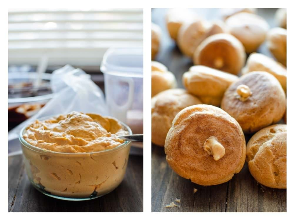 Pumpkin Cheesecake Profiteroles - Bitesized Profiteroles filled with creamy Pumpkin Cheesecake filling and a chocolate glaze. Perfect for Fall and for thanksgiving!