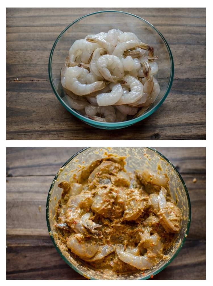 Asian-style Steamed Shrimp and Mushroom Parcels - Shrimps marinating ...