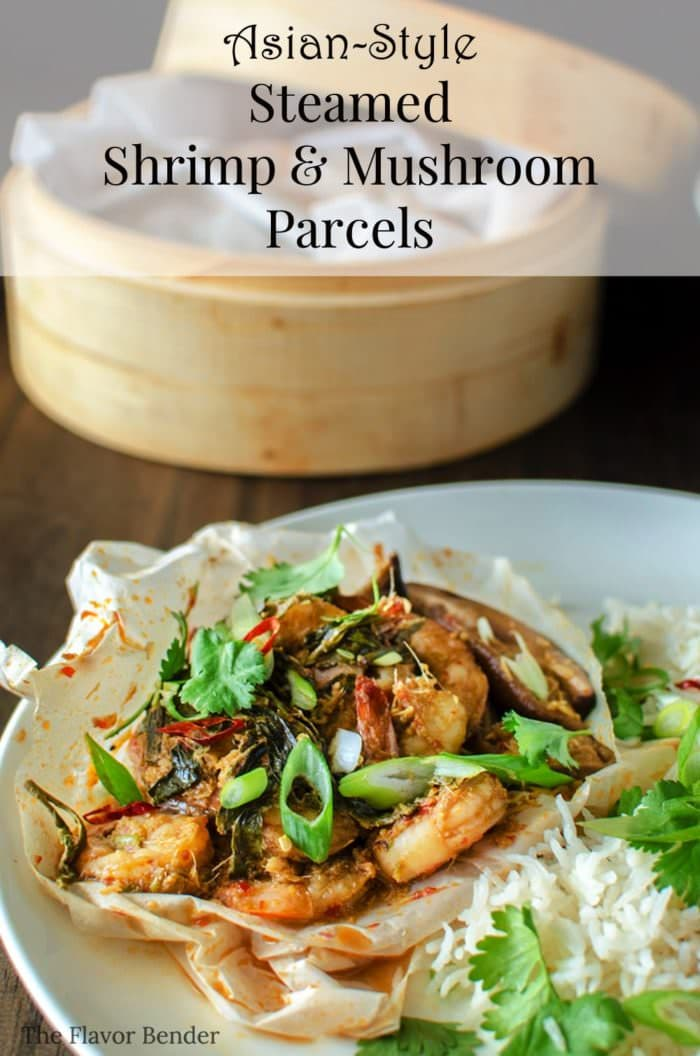 Asian-style Steamed Shrimp and Mushroom Parcels - Shrimps marinating in a wonderful spice mix steamed to perfection with mushrooms and green tea. a delicious, flavorful meal idea fit for quick dinners or for entertaining.