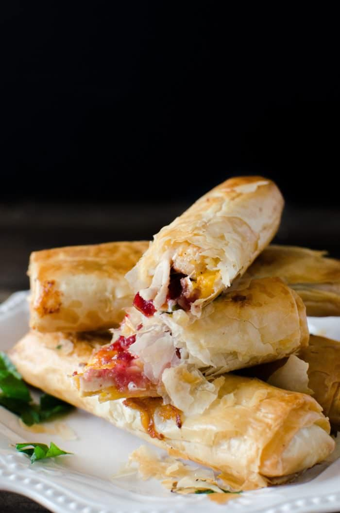 Cranberry, Cheese and Turkey Filo Rolls - Super quick to make and a fantastic appetizer for the holidays OR make it using leftovers for a light meal, or snack that is family friendly and absolutely delicious!