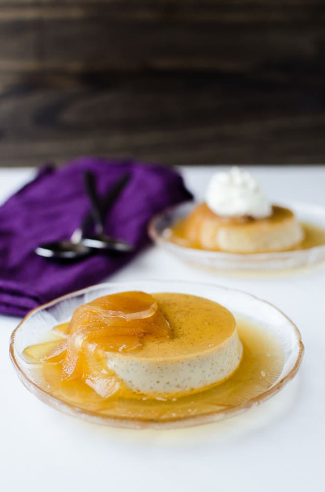 Poached Apple and Cinnamon Creme Caramel (Poached Apple and Cinnamon Flan) - A decadent, creamy dessert. Easy to make, and a perfect make ahead dessert! A delicious twist on the classic Creme Caramel with Americas favourite Apple and Cinnamon