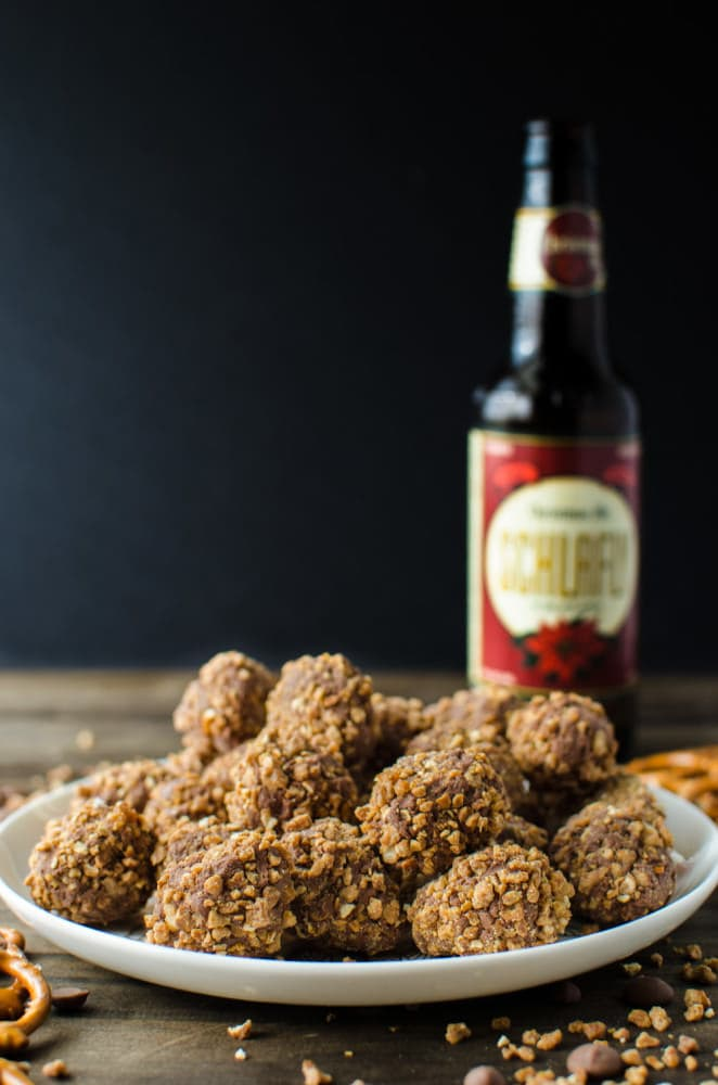 Chocolate Beer truffles with Beer Pretzel Praline - Perfect bite sized treats! Rich Chocolate truffles studded with Beer infused Pretzel Praline pieces! Chocolate, Beer, Pretzels and Caramel in one bite!