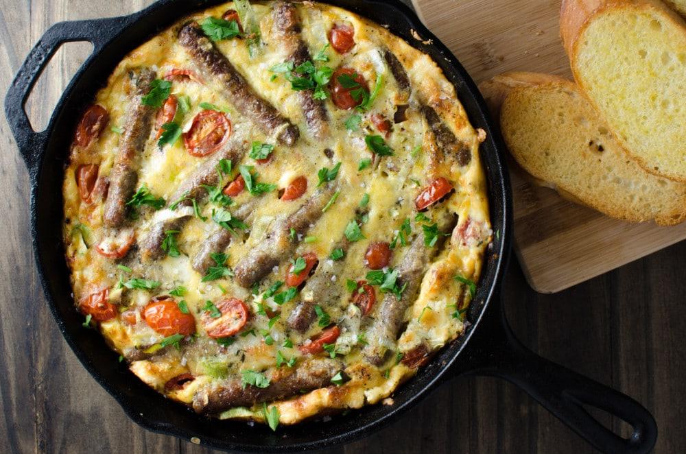 Sausage Frittata with Persimmon Salsa - This Sausage and Bucheron goat cheese studded Frittata with Persimmon Salsa is quick, easy, nutritious and oh so tasty!