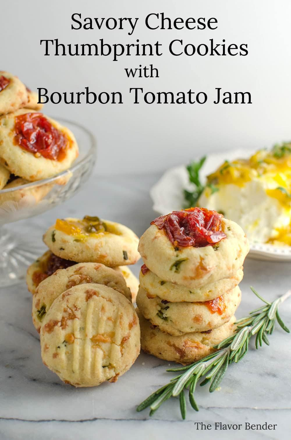 Savory Cheese Thumbprint Cookies with Bourbon Tomato Jam - These savory cookies are the NEXT BEST THING! Buttery, herby cookies with delicious cheddar cheese, and an amazing tomato jam! Comes together easily and its PERFECT as an appetizer, party food, or as a snack!