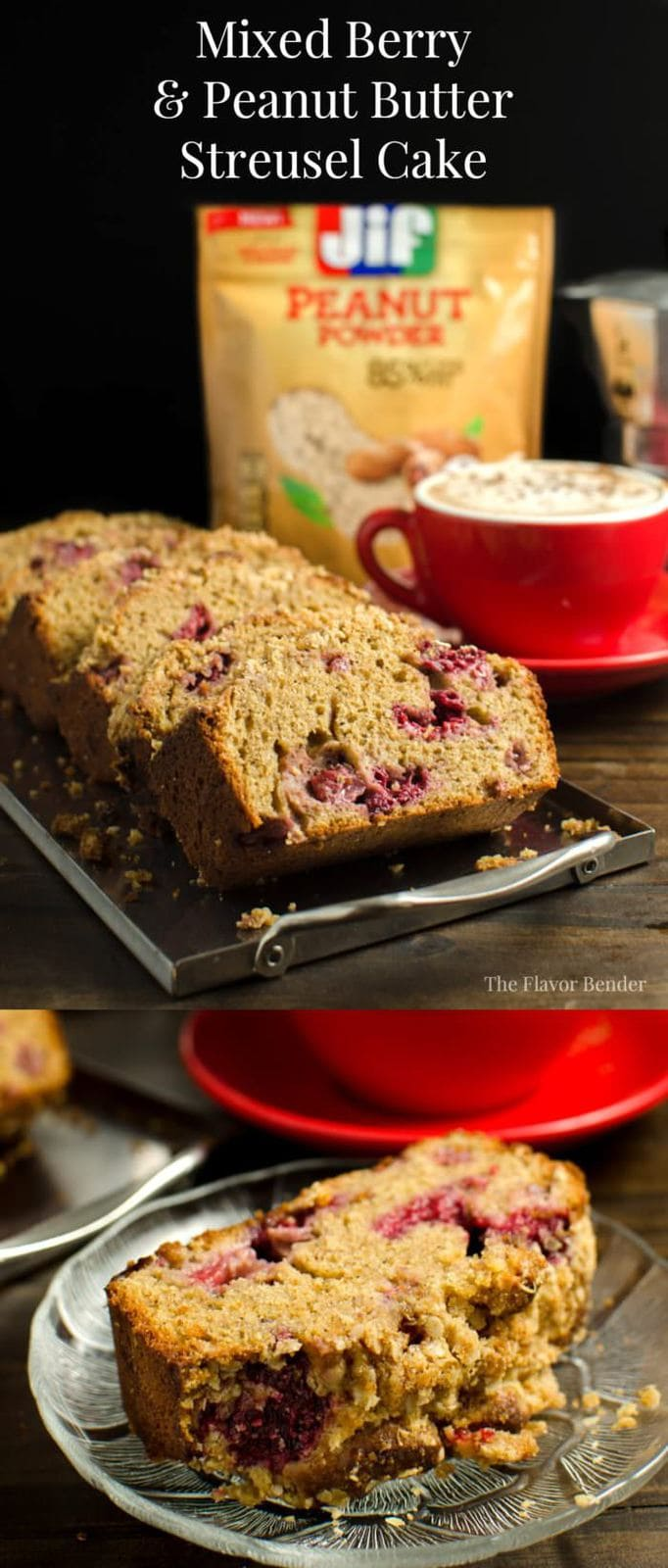 Easy to make Mixed Berry and Peanut Butter Streusel Cake made with Peanut Powder! A delicious cake perfect for breakfast or to enjoy with coffee or tea in the afternoon! Perfectly sweet and a great twist on Peanut Butter and Jelly! #StartwithJifPowder [ad]