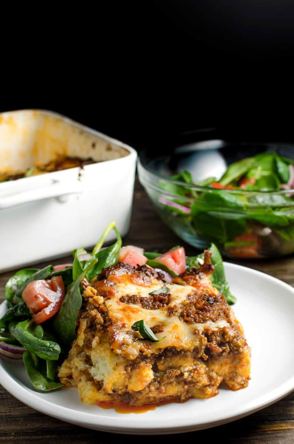 Polenta Lasagna Bolognese - This gluten free, delicious family recipe will become a favourite in your family too! Made with alot of love and #simmeredintradition