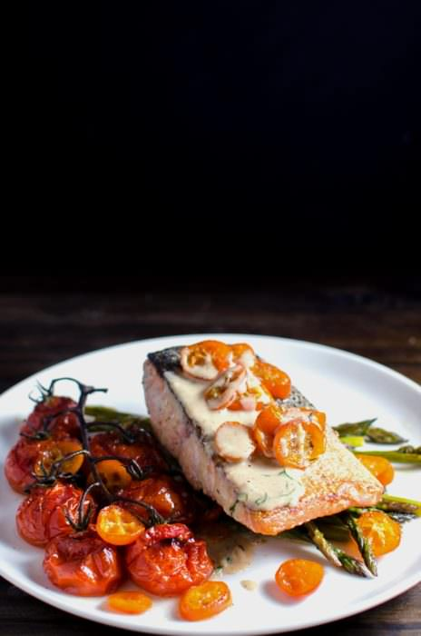 Brown Butter Pan Fried Salmon with Roasted Kumquats and Vegetables - A meal that is ready in 30 minutes and with insane flavours! Perfect for a family meal or for entertaining guests. Flavours so good, they will think you hired a chef.