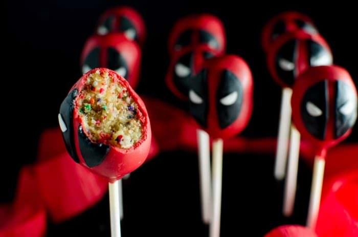 "Funfetti Deadpool Cake Pops - just as adorable and badass as Deadpool himself! Funfetti cake pops transformed into the lovable, but ""deadly"" delicious Deadpool! FULL TUTORIAL + VIDEO"