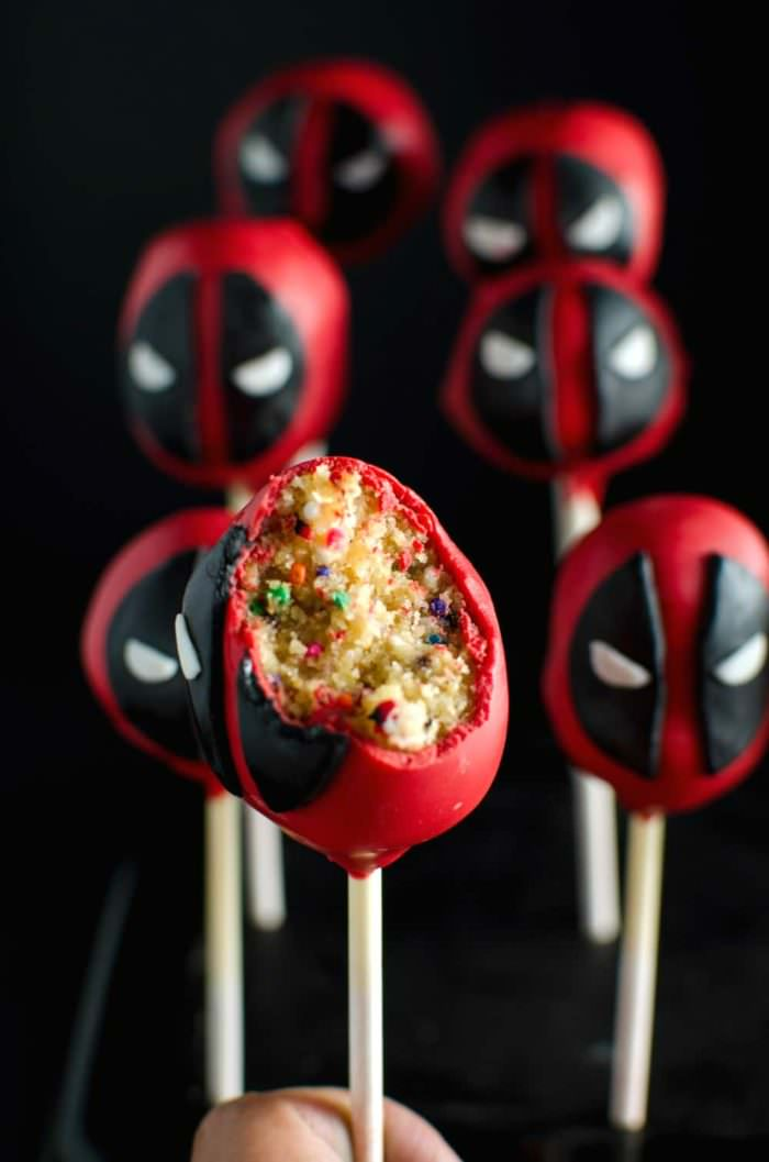 """Funfetti Deadpool Cake Pops - just as adorable and badass as Deadpool himself! Funfetti cake pops transformed into the lovable, but """"deadly"""" delicious Deadpool! FULL TUTORIAL + VIDEO"""