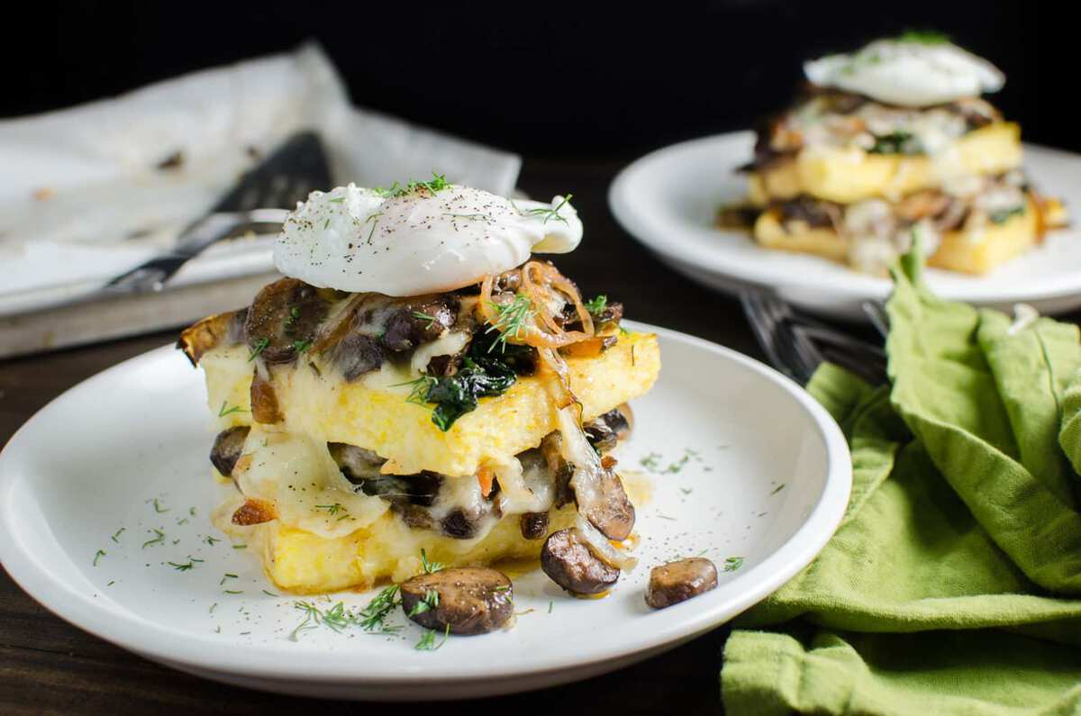 Spinach and Mushroom Polenta Stacks - a delicious Vegetarian recipe ...