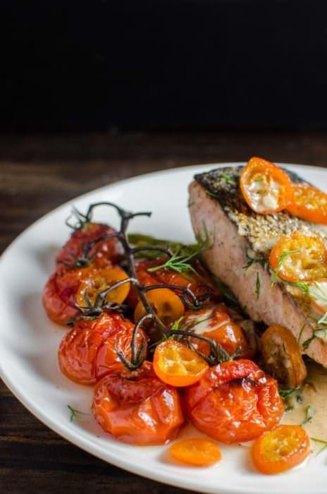 Brown Butter Roasted Tomatoes, Asparagus and Kumquats - This vegetable side dish is simple and easy to make, but has big flavors! From the roasted kumqauts to the brown butter to the roasted garlic! Perfect with Salmon (or any fish), or meat!