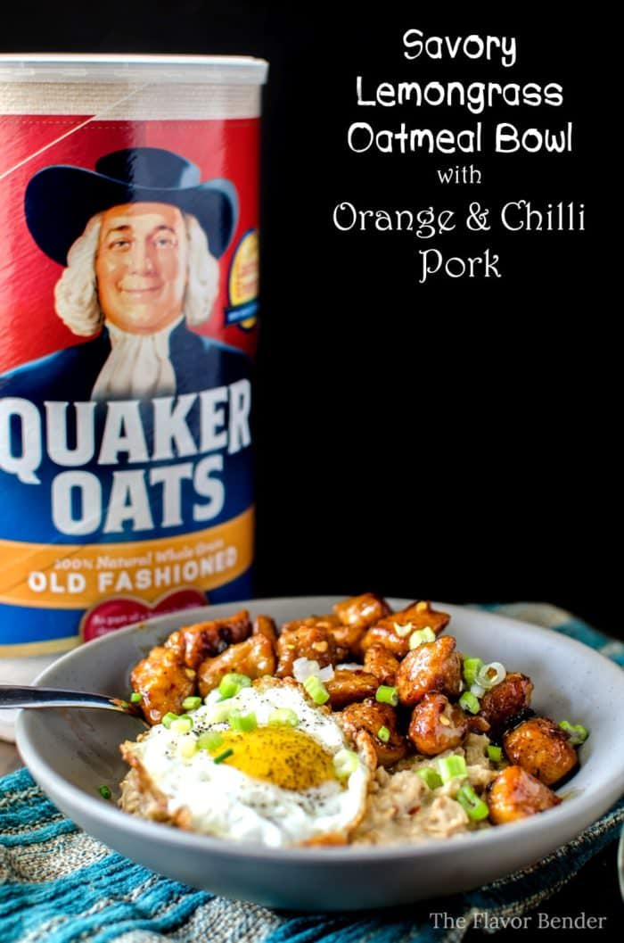 Lemongrass Savory Oatmeal with Orange and Chilli Pork - Talk about a hearty and exciting breakfast! Wonderful flavours and easy to make, this is a breakfast you WANT to wake up to! #BringYourBestBowl #Walmart #ad