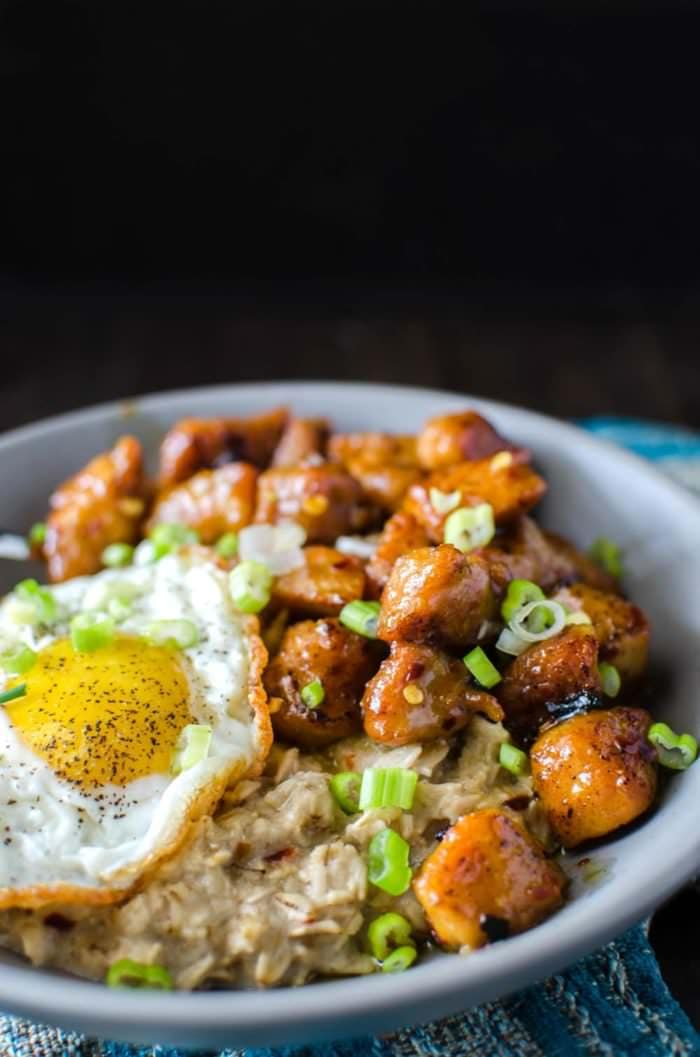 Lemongrass Savory Oatmeal with Orange and Chilli Pork - Talk about a hearty and exciting breakfast! Wonderful flavours and easy to make, this is a breakfast you WANT to wake up to!
