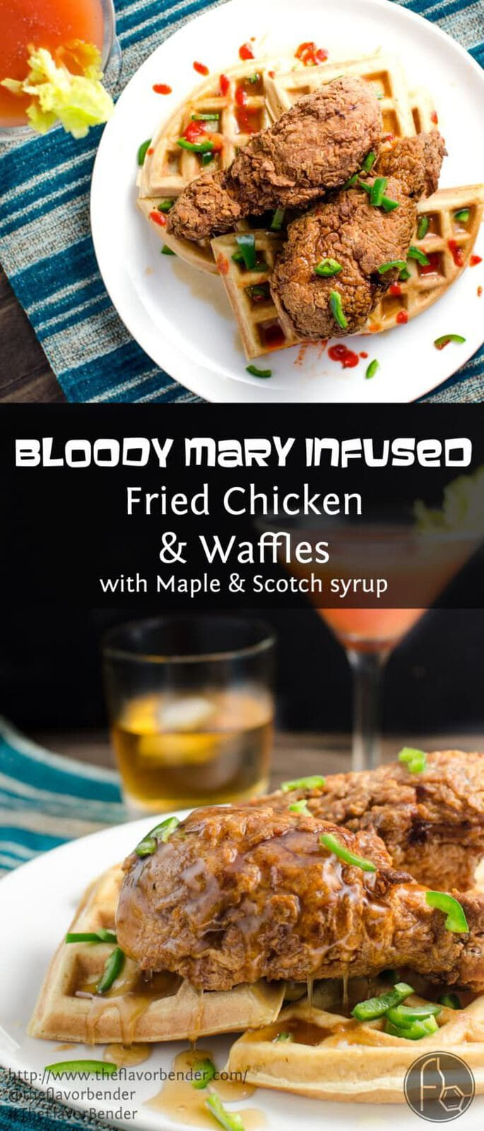 Bloody Mary infused Fried Chicken and Waffles - An Archer inspired breakfast with Crispy Crunchy Fried Chicken Drumsticks infused with all the flavors of a Bloody Mary plus Scotch and extra dose of spice! CLICK for the recipe now, REPIN for later! #TheFlavorBender