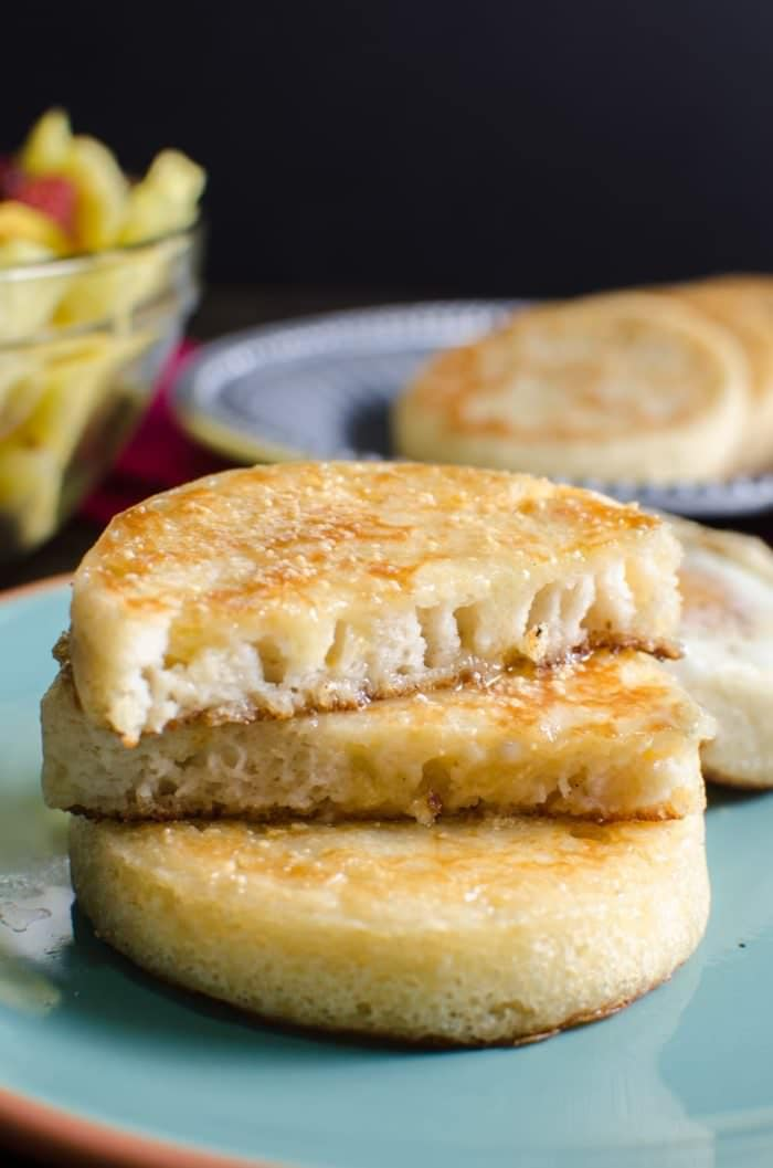 Crumpets with Honey and Coconut - These are the BEST gluten free or ANY kind of crumpet you'll ever eat! Reminiscent of a Sri Lankan Hopper, but far easier to make. Even better with an Egg cooked IN IT! - CLICK TO GET THE RECIPE or RE PIN TO SAVE!