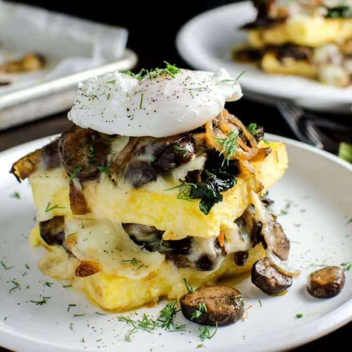 Spinach and Mushroom Polenta Stacks