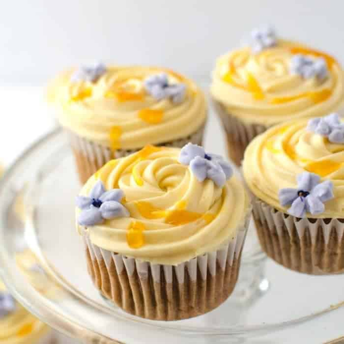 Spiced Banana Cupcakes with Apricot Frosting (Hot Cross Bun Cupcakes)