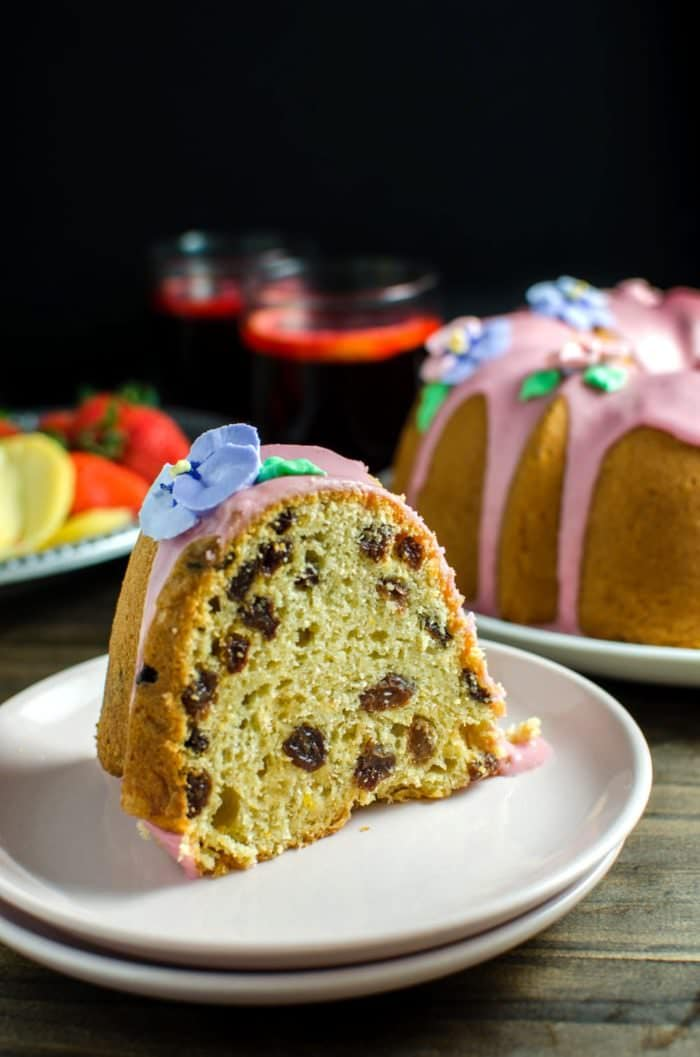 Sri Lankan Breudher Cake with a Blood Orange glaze - a sweet yeasted cake that is PERFECT for Celebrating Easter! A yeasted cake with a touch of sweetness, buttery and rich, studded with raisins, from my childhood, with an extra dose of brandy and blood orange!