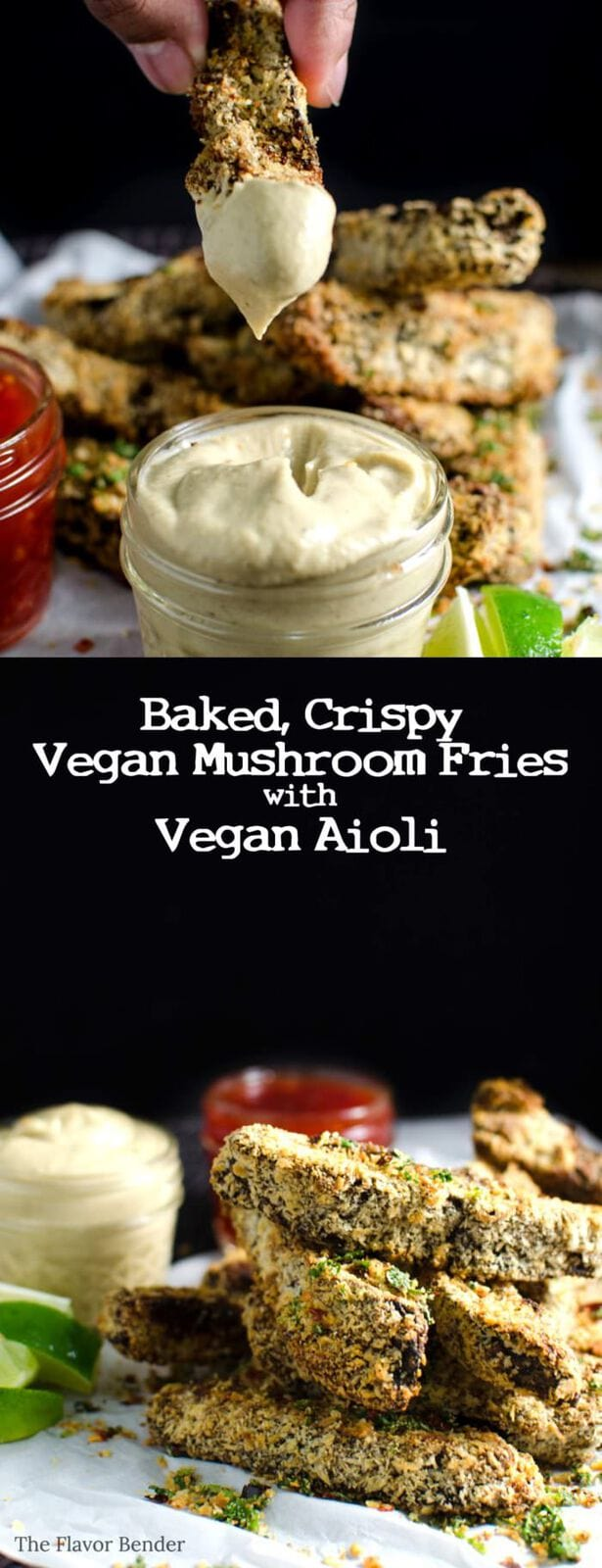Baked Mushroom Fries and Vegan Aioli - This delicious Vegan recipe is an incredibly flavourful twist on a classic, that's perfect as a party or game day appetizer or even a complete meal! PLUS learn how to make Vegan Aioli that tastes like the real thing.