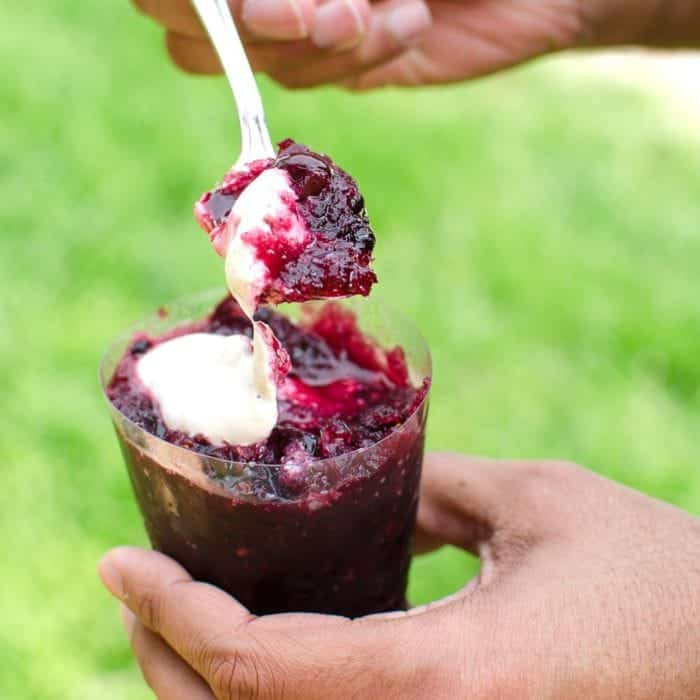 Cherry and Blackberry Red Wine Granita with Black pepper sour cream