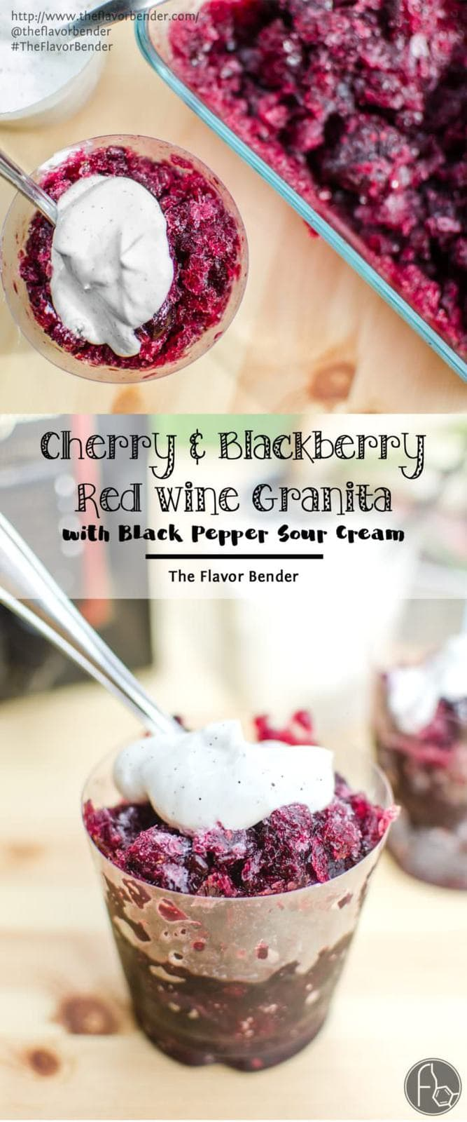 Cherry and Blackberry Red Wine Granita with Sweetened Black Pepper Sour Cream. - A delicious and simple dessert that is perfect for summer! Fruity, sweet, boozy and full of flavor and then topped with a creamy, tangy sour cream with a little spice! Made with Black Box Wines. REPIN to save! CLICK to get the recipe! #TheFlavorBender