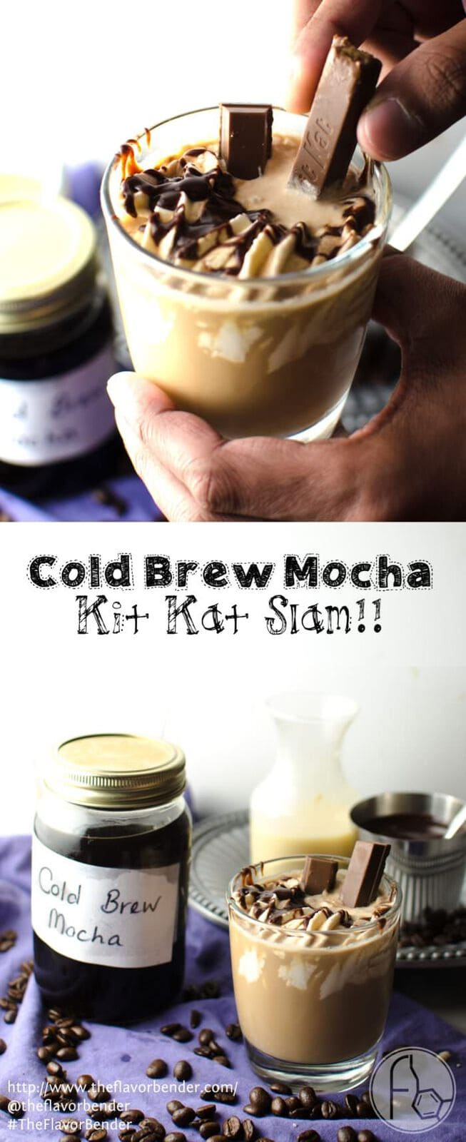 Cold Brew Iced Mocha - Learn how to make Cold Brew Mocha and Cold Brew Coffee and How to drink a KIT KAT SLAM! Absolutely perfect for Summer (Or anytime!) Kit Kats will never be the same again! Make your own Kit Kat Slam and tag it #TFBKitKatSlam! #TheFlavorBender CLICK to get the recipe. REPIN to save for later.