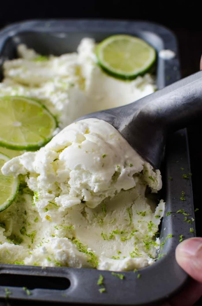 Salted Lime Sherbet - Margarita Ice Cream for the whole family (no alcohol)! So creamy, lightly salted, taste bud bursting tanginess and the perfect amount of sweetness! Perfect for Summer :) REPIN for later! CLICK to get the recipe! @TheFlavorBender