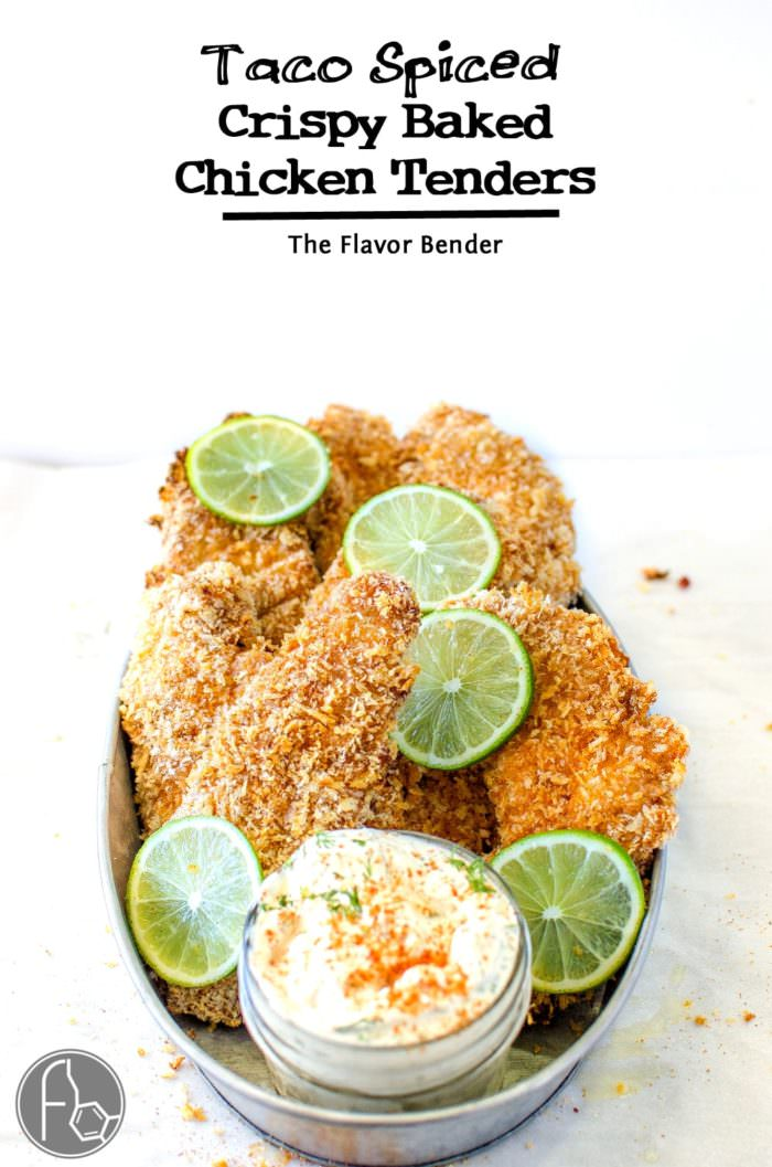 Taco Spiced Crispy Baked Chicken Tenders -  are absolutely THE BEST baked, crunchy chicken tenders, with a crispy and flavorful twist with a golden panko bread crumb coating and a taco spiced seasoning. Perfect with a Herb and lime Sour Cream dip! CLICK to get recipe. REPIN for later! #TheFlavorBender