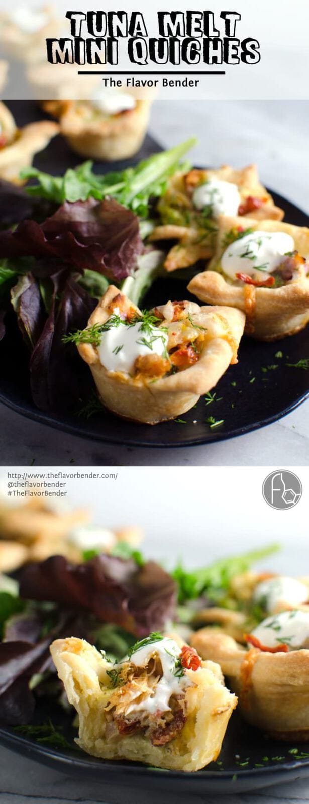 Tuna Melt Mini Quiches - Tuna melts made into bite sized party appetizers! By using delicious Sustainable Solid Tuna like #WildSelections you KNOW it's going to taste even better! REPIN to save. CLICK to get the recipe. #TheFlavorBender