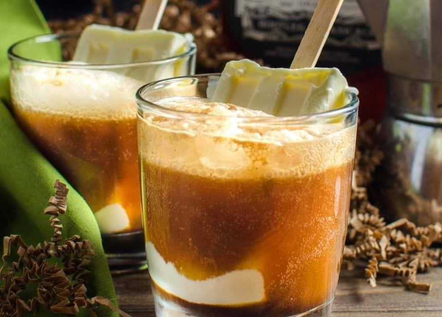 Boozy Iced Coffee Float (Boozy Affogato Float) Give your coffee the Boozy treatment with this delicious Spiked Iced Coffee Float with homemade coffee liqueur (from Uncommon Goods) and Creamy Vanilla Popsicles!