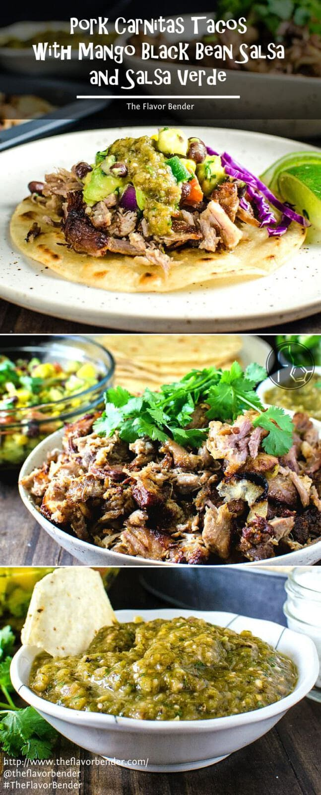 Pork Carnitas Tacos with Mango Black Bean Salsa and Salsa Verde - Make Taco night extra special with this Moist, juicy, tender pork carnitas with crisp brown edges, and a fresh, colorful, fruity mango black bean salsa, topped with roasted tomatillo salsa verde on slightly toasted tortillas. REPIN to save. CLICK to get the recipe. #TheFlavorBender