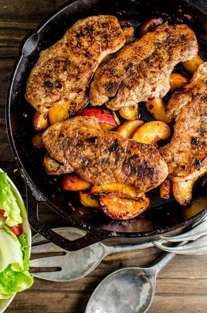 Pan Fried Five Spice Pork And Peaches -Here's your answer to an infinitely flavourful yet quick and easy, 30 minute meal! Pork chops pan fried with Five Spice powder and served with caramelized, sweet peaches! Dinner's ready in less than 30 minutes! CLICK to get the recipe. REPIN to save! #TheFlavorBender #AllNaturalPork [ad]